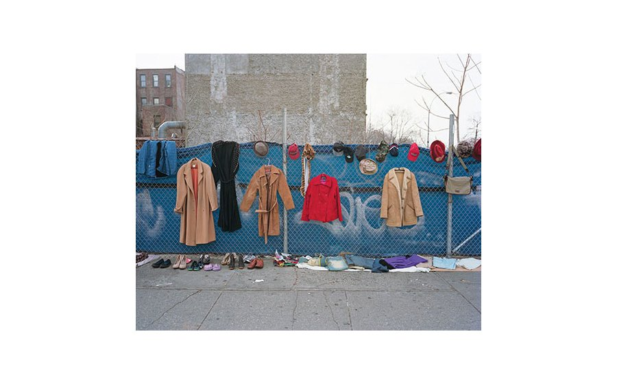 Dawoud Bey, Clothes and Bag for Sale (from Harlem Redux), 1978, silver gelatin print.