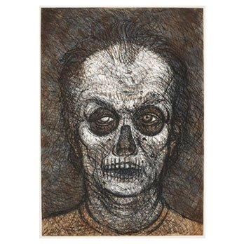 Luis Jimenez, Self-Portrait, 1996, soft ground etching, multiplates.