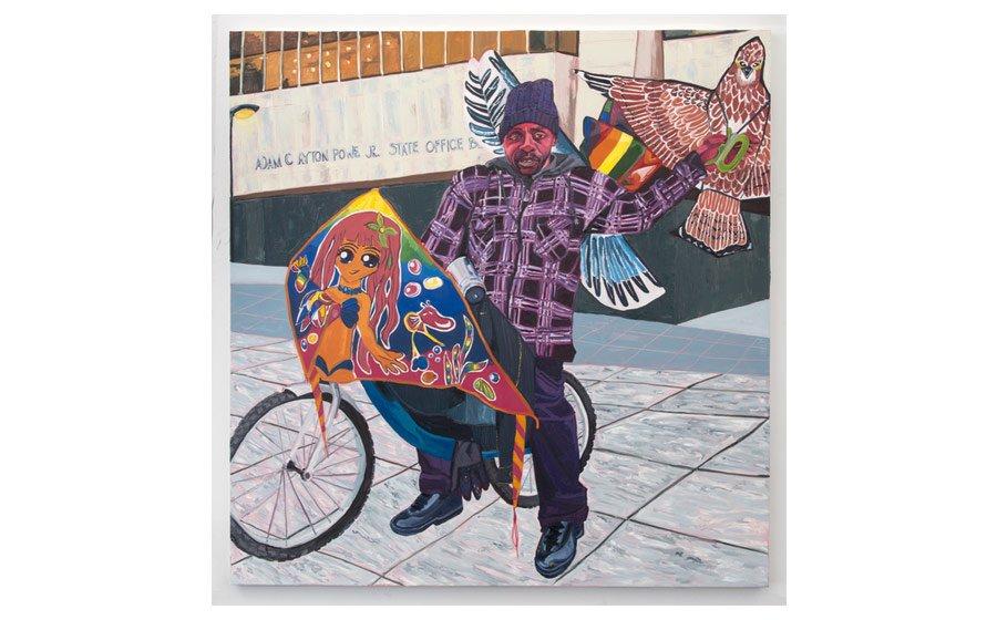 Jordan Casteel, Kevin the Kiteman, 2016. Oil on canvas 78 - 78 in.