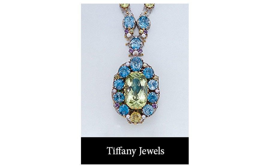 Beryl and Zircon Necklace with Detachable Brooch, ca. 1915 Louis Comfort Tiffany with Meta Overbeck gold (18 ct), platinum, yellow beryl, blue zircon, yelllow zircon, demantoid garnet, pink beryl and pearls