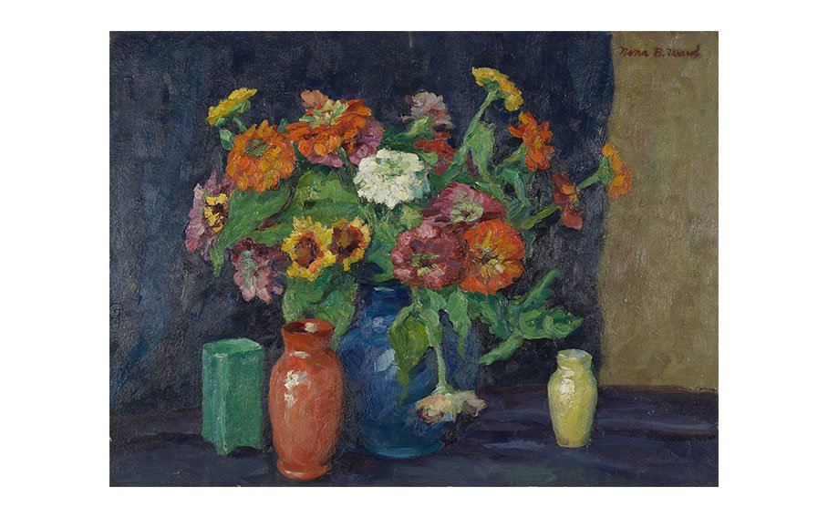Zinnias and Four Vases, n.d., oil on board, 18 x 24