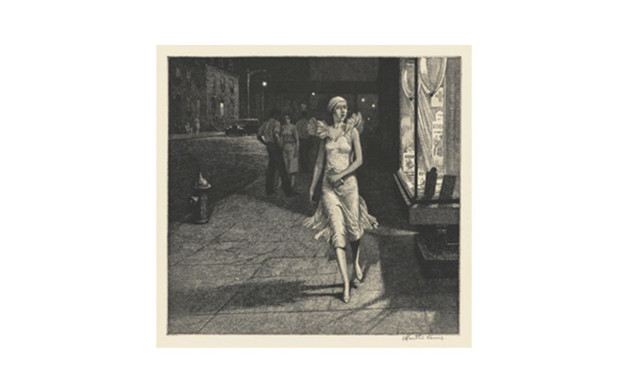 Martin Lewis, Night in New York, 1932, etching