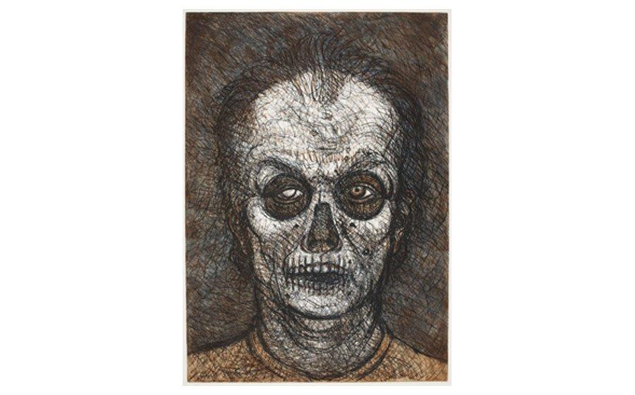 Luis Jimenez, Self-Portrait, 1996, soft ground etching, multiplates