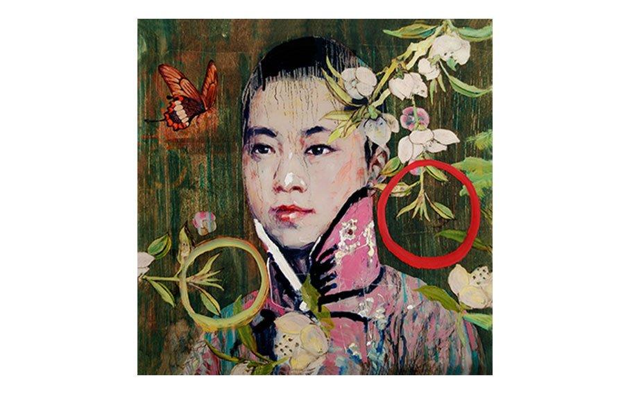 Hung Liu, Calendar Girl Turquoise Pink Shirt HI-Resedition Bon A Tirer