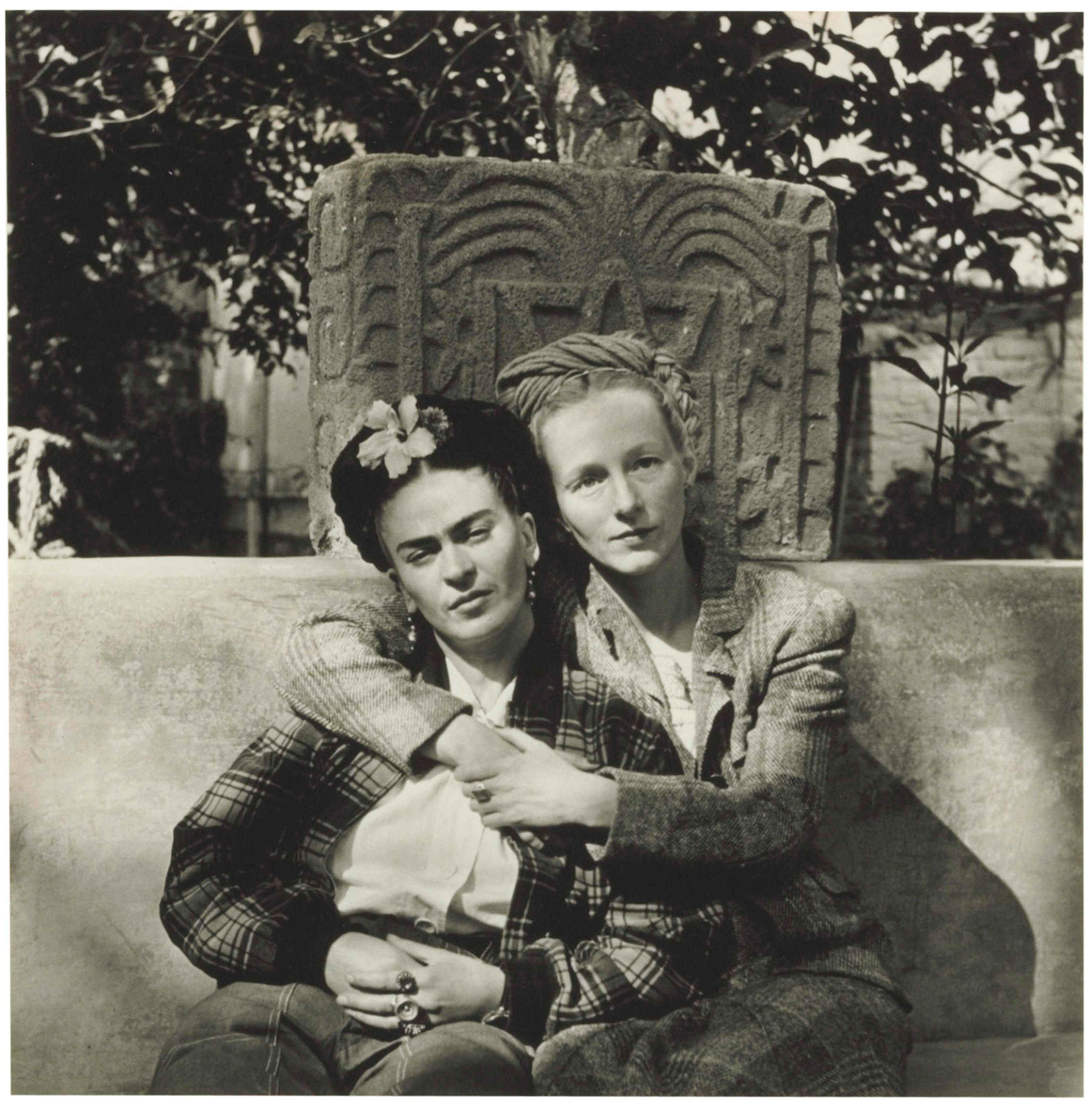 Diego M. Rivera, Frida Kahlo and Emmy Lou Packard, Coyoacan, 1941, 1941, platinum palladium print. Collection of the Kalamazoo Institute of Arts; Permanent Collection Fund Purchase, 2003.24