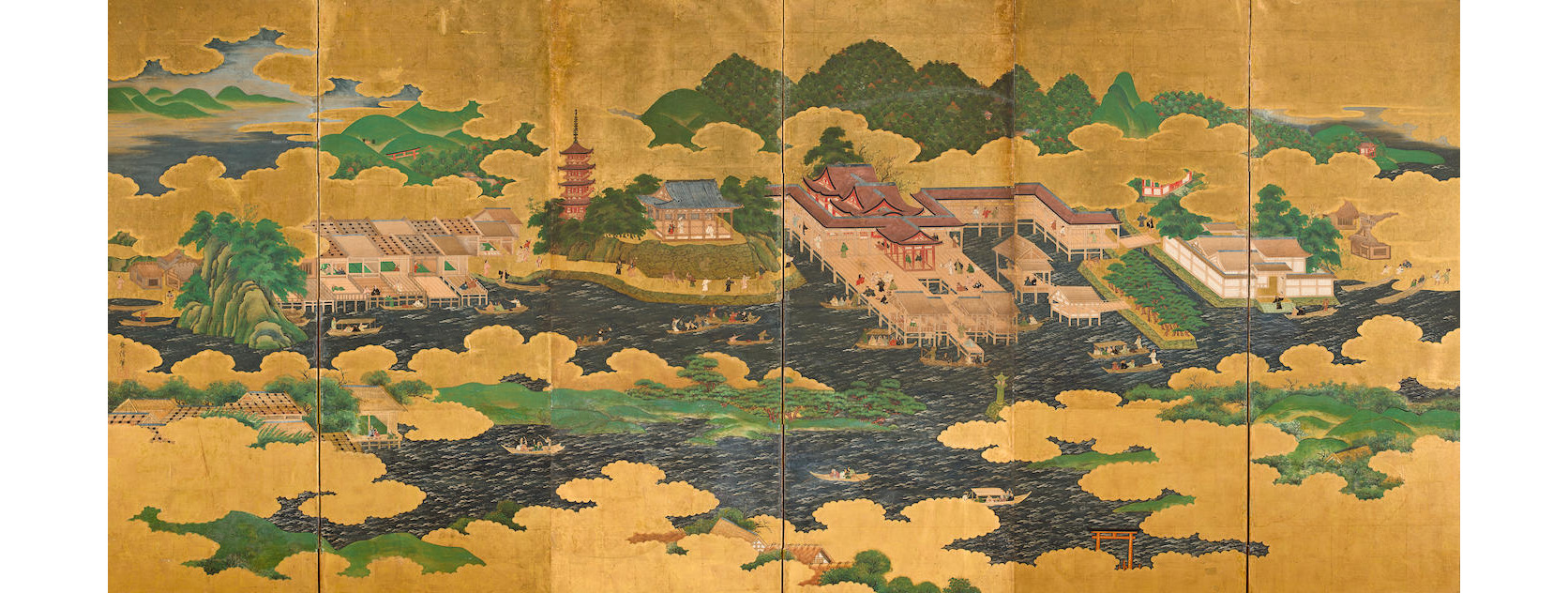Kano Masunobu (Japanese, 1625-1694), Itsukushima Shrine, n.d. ink, colors, and gold on paper. Joy Light East Asia Acquisitions and Exhibitions Fund, 2011.8.1