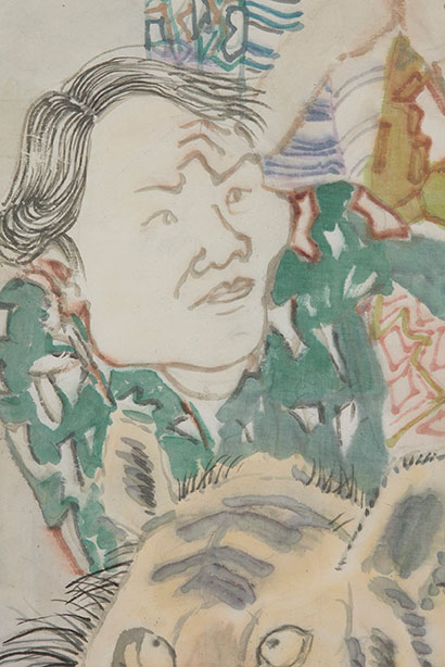 Yun-Fei Ji, The nativists and immigrants, 2021, ink and watercolor on paper. Courtesy of the Artist and James Cohan Gallery