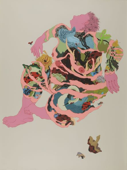 BeiBei Chen and LeiLei Chen, Gaia I, 2018, hand screenprint. Collection of the Kalamazoo Institute of Arts; Ward H. and Cora E. Nay Director's Fund purchase, 2018.15